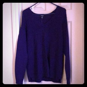 NWT Chaps women's L purple cable knit sweater